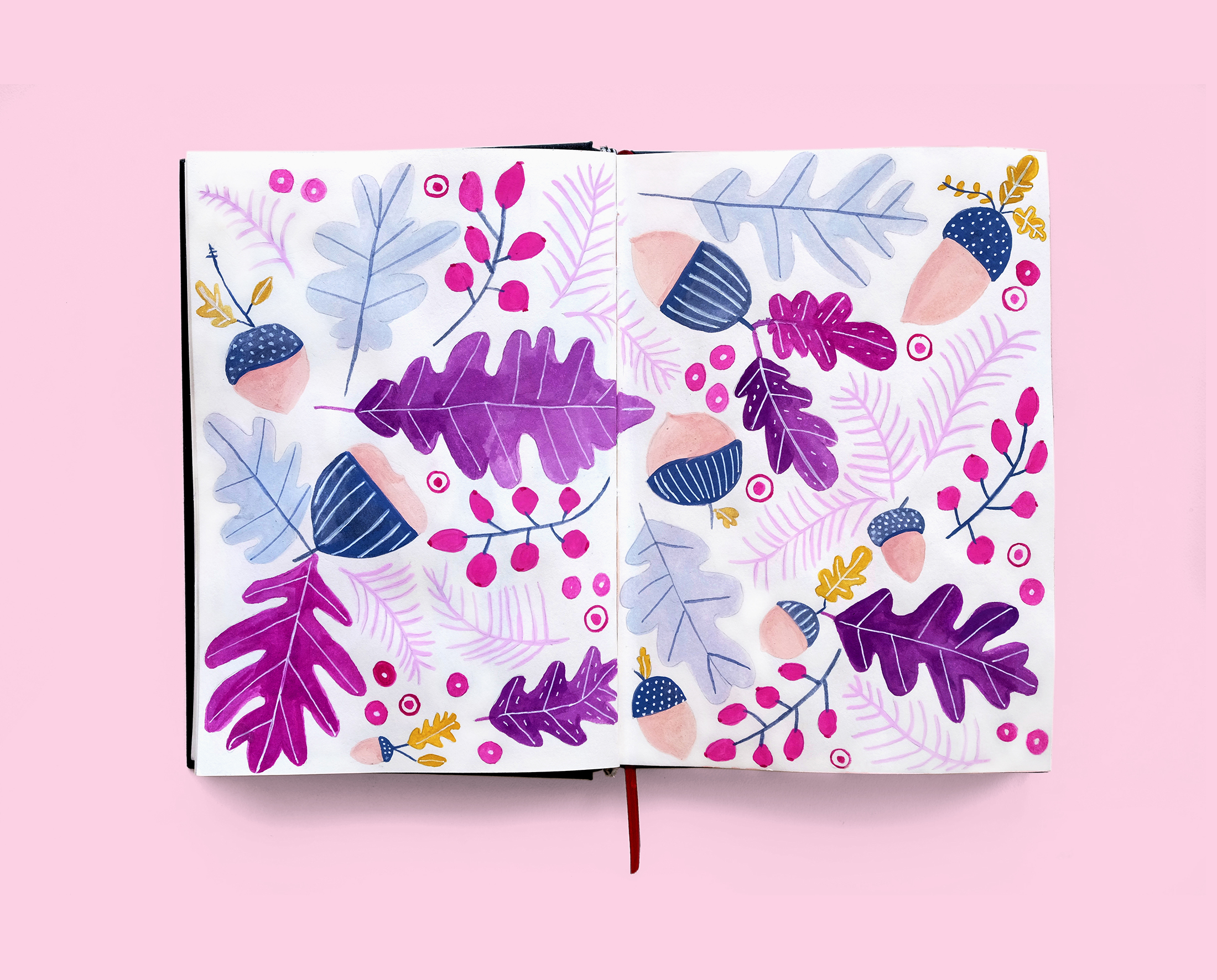 Journal Illustration Acorn Pattern