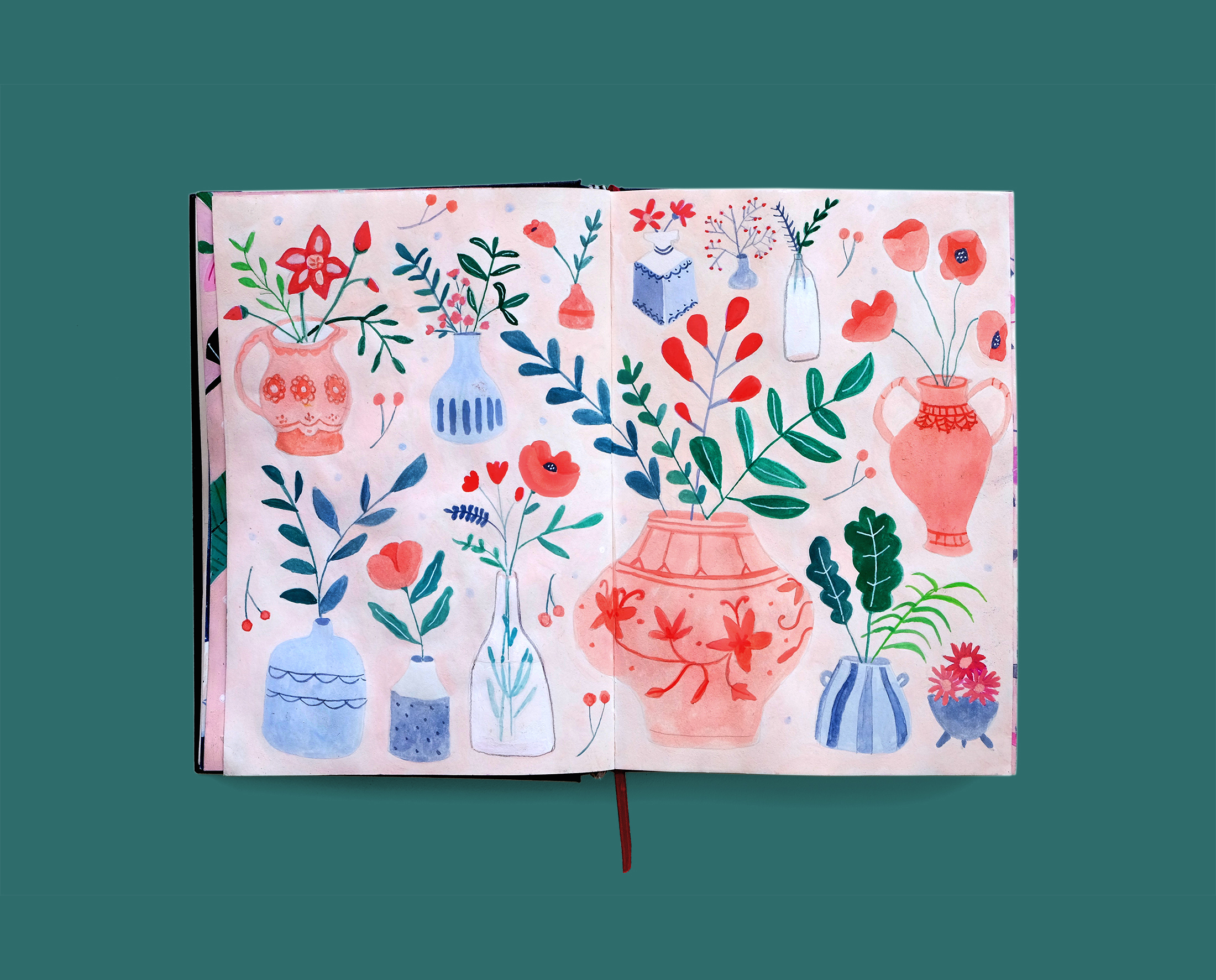 Journal Illustration Flowers in Vases