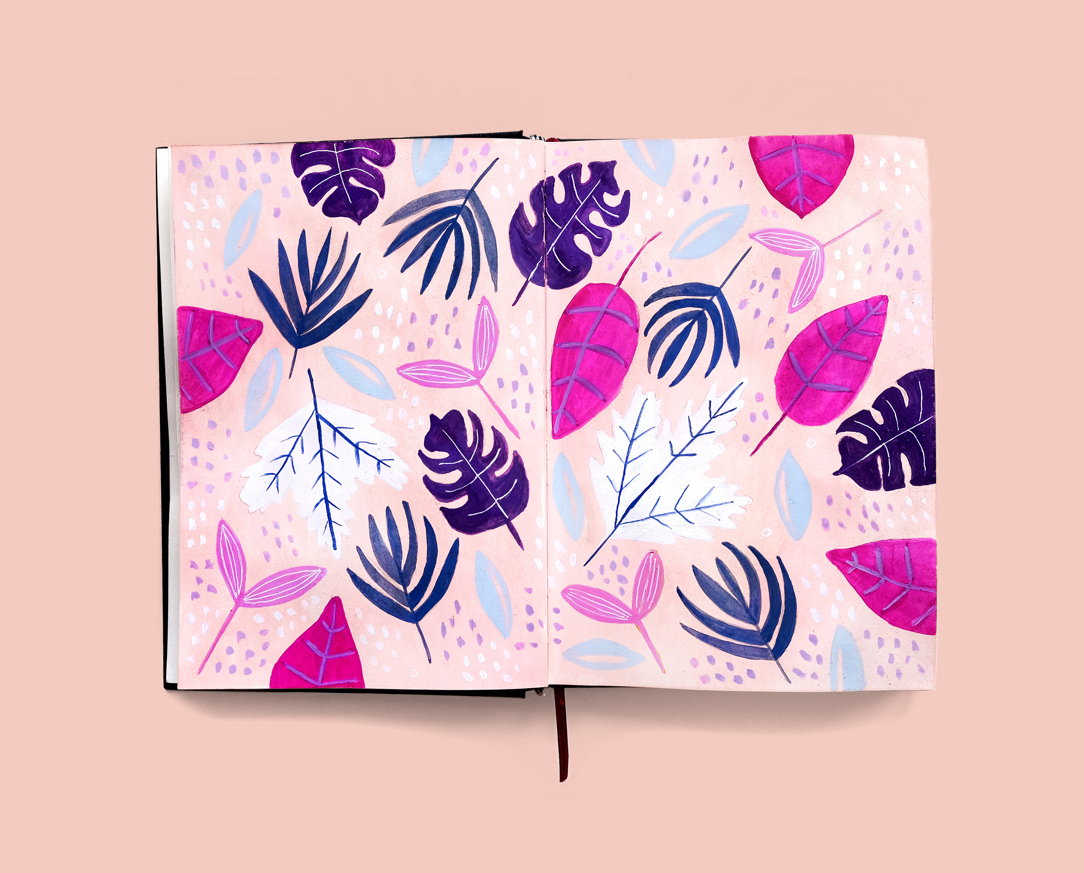 Journal Illustration Leaves Pattern