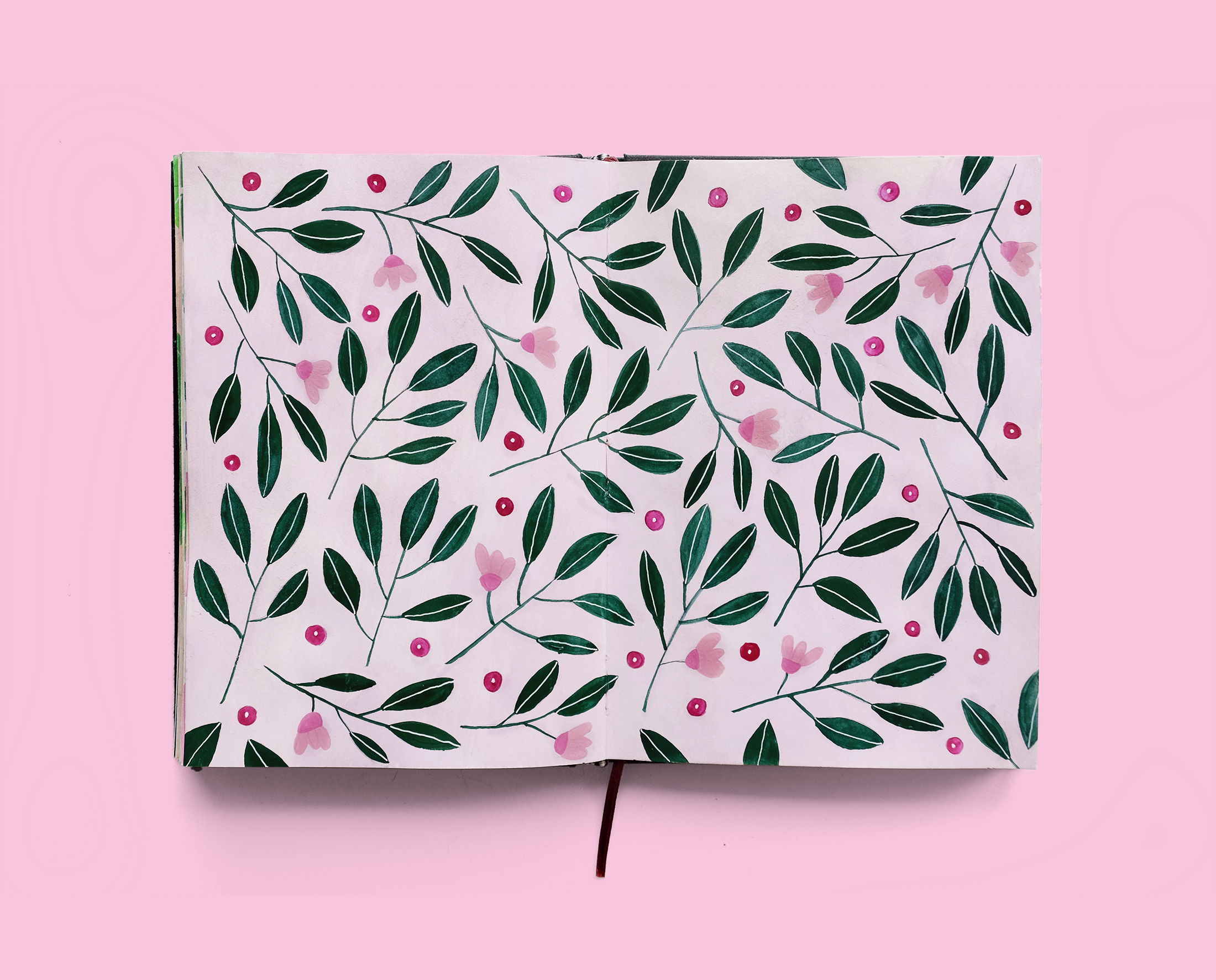 Journal Illustration Rose Leaves Pattern