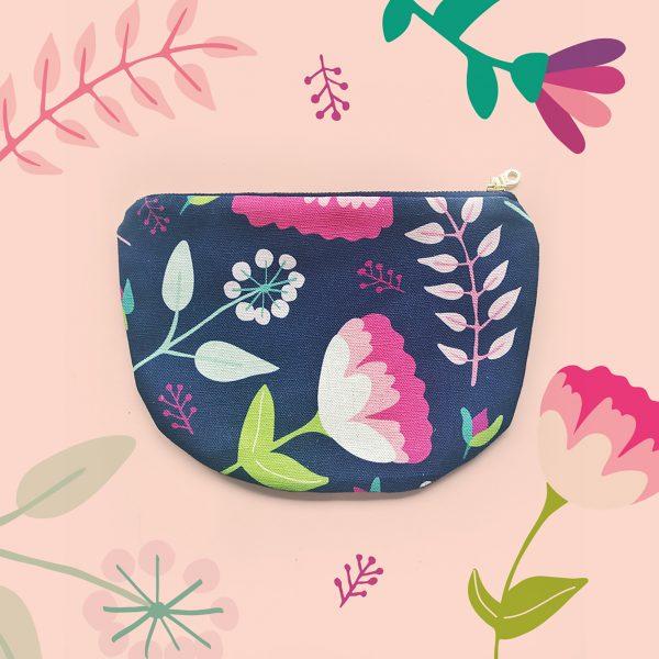Vintage Floral Scoop Zipper pouch