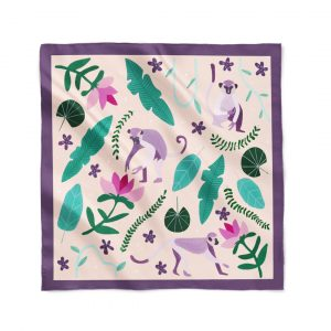 Playful Monkey Silk Scarf