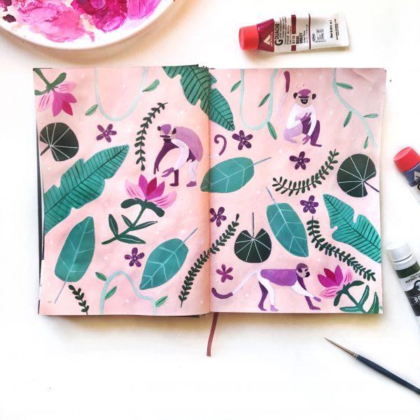 Playful Monkey Pattern Journal