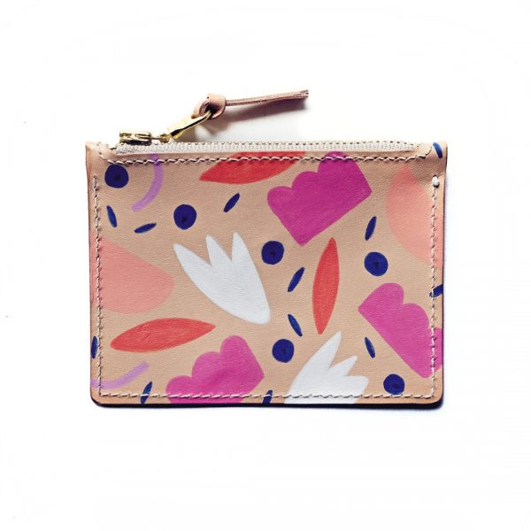 Leather Zip Purse - Abstract Fruit - Front