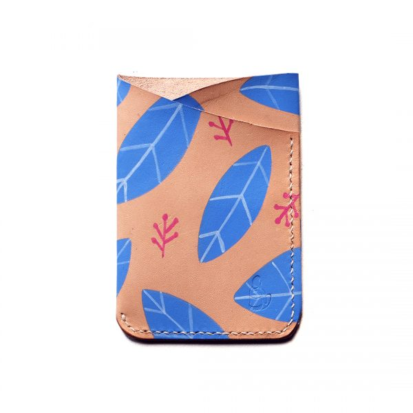 Leather slimline trifold - Blue Fallen Leaves - Front