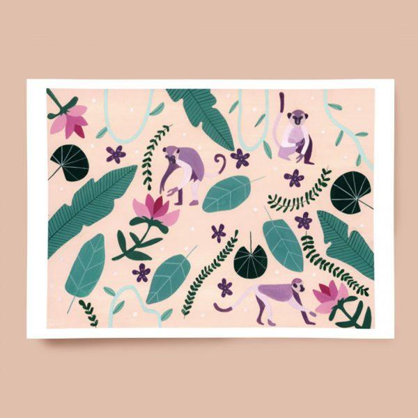 Melanie Miles Playful Monkey A3 Print