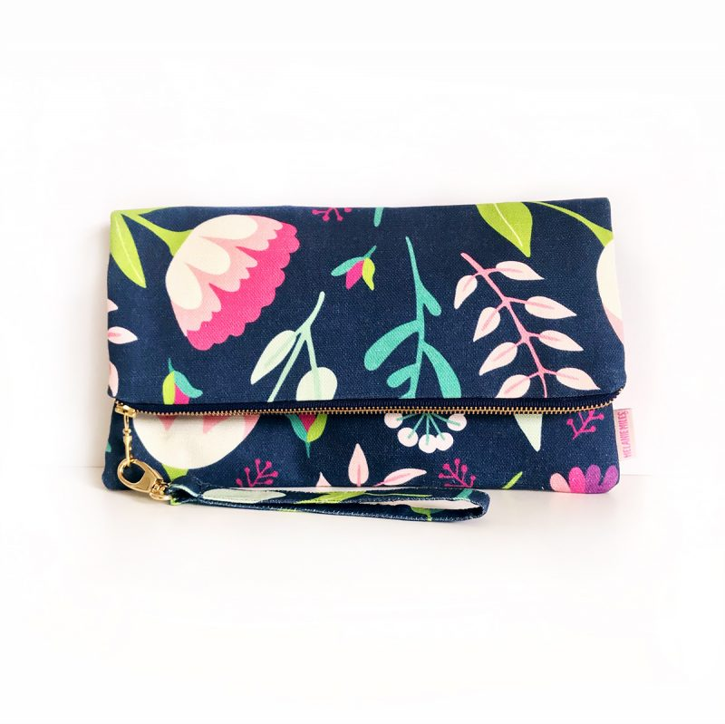 Vintage Floral_Fold Over Clutch_Large with strap_PS