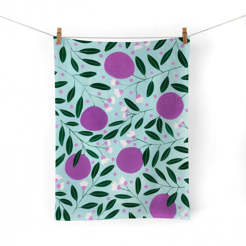 Plump Plums Tea Towel Mockup_pegs